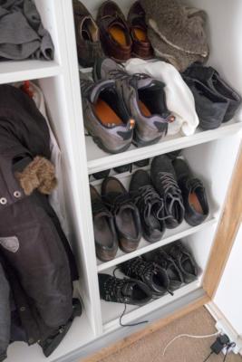 binnenkant met opbergruimte voor schoenen.
